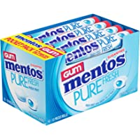 Mentos Pure Fresh Sugar-Free Chewing Gum with Xylitol, Fresh Mint, 12 Piece Rolls (Pack of 16)