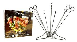 """O-Yaki Stainless Steel Skewer Set - Vertical Kabob Skewers - Perfect For Indoor/Outdoor Grilling, Cooking, Roasting - Set of Nine Metal 9"""" Standing Skewers with Base"""