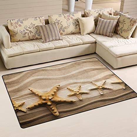 Naanle Ocean Beach Theme Area Rug 3u0027x5u0027, Starfish On Sandy Beach Polyester