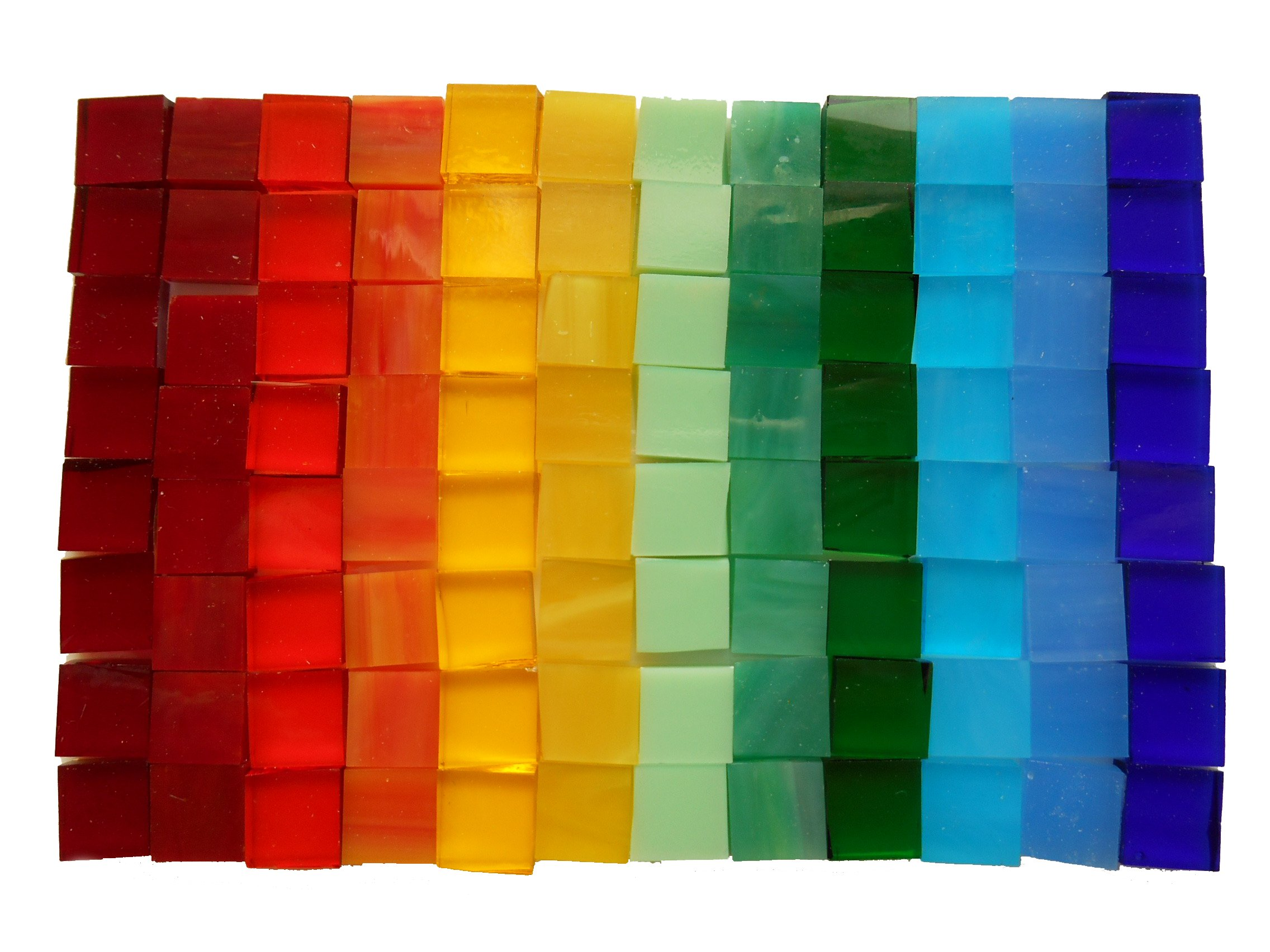 550 1 cm x 1 cm Square Pieces Mixed Color Glass Mosaic Tiles USA Made Mosaic Glass Pieces for Home Decoration or DIY Crafts