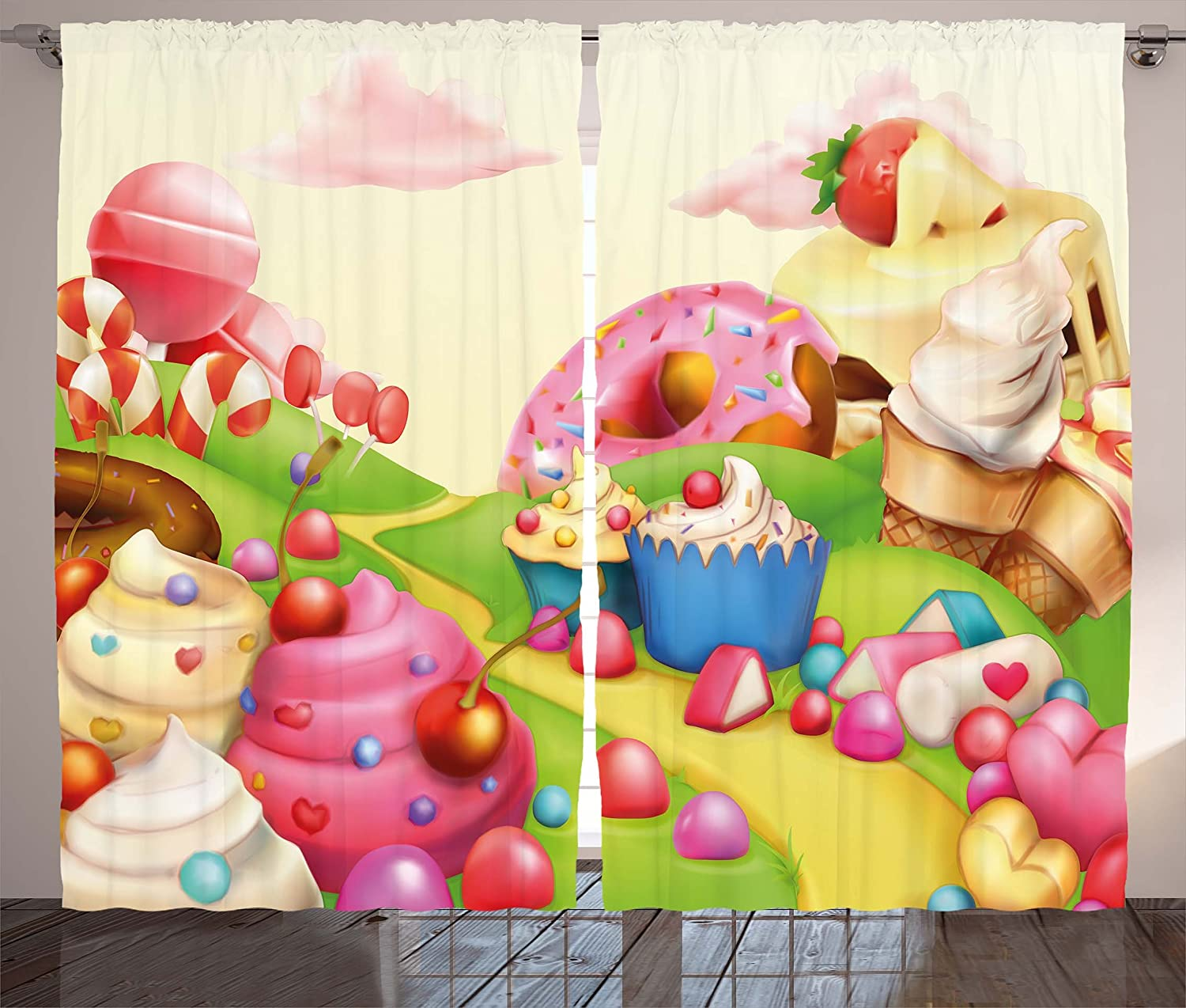 Ambesonne Pink Curtains, Food Theme Tasty Landscape of Candies Cupcakes Lollipop and Ice Cream Print, Living Room Bedroom Window Drapes 2 Panel Set, 108
