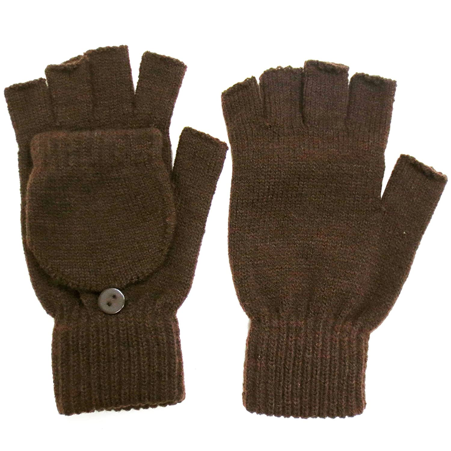 Amazon.com: Winter Fingerless Gloves with Flap Cover Mitten Gloves ...