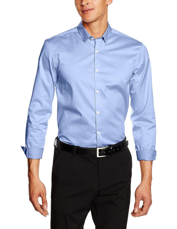 TALLA 46. Lindbergh Plain Twill Stretch Shirt L/S - Camisa Hombre