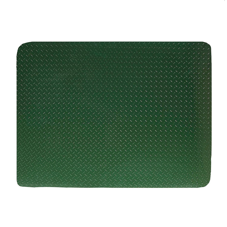 Resilia - Garage Mat, Prevents Stains - Decorative Embossed Diamond Plate Pattern - Green, 3 Feet x 4 Feet
