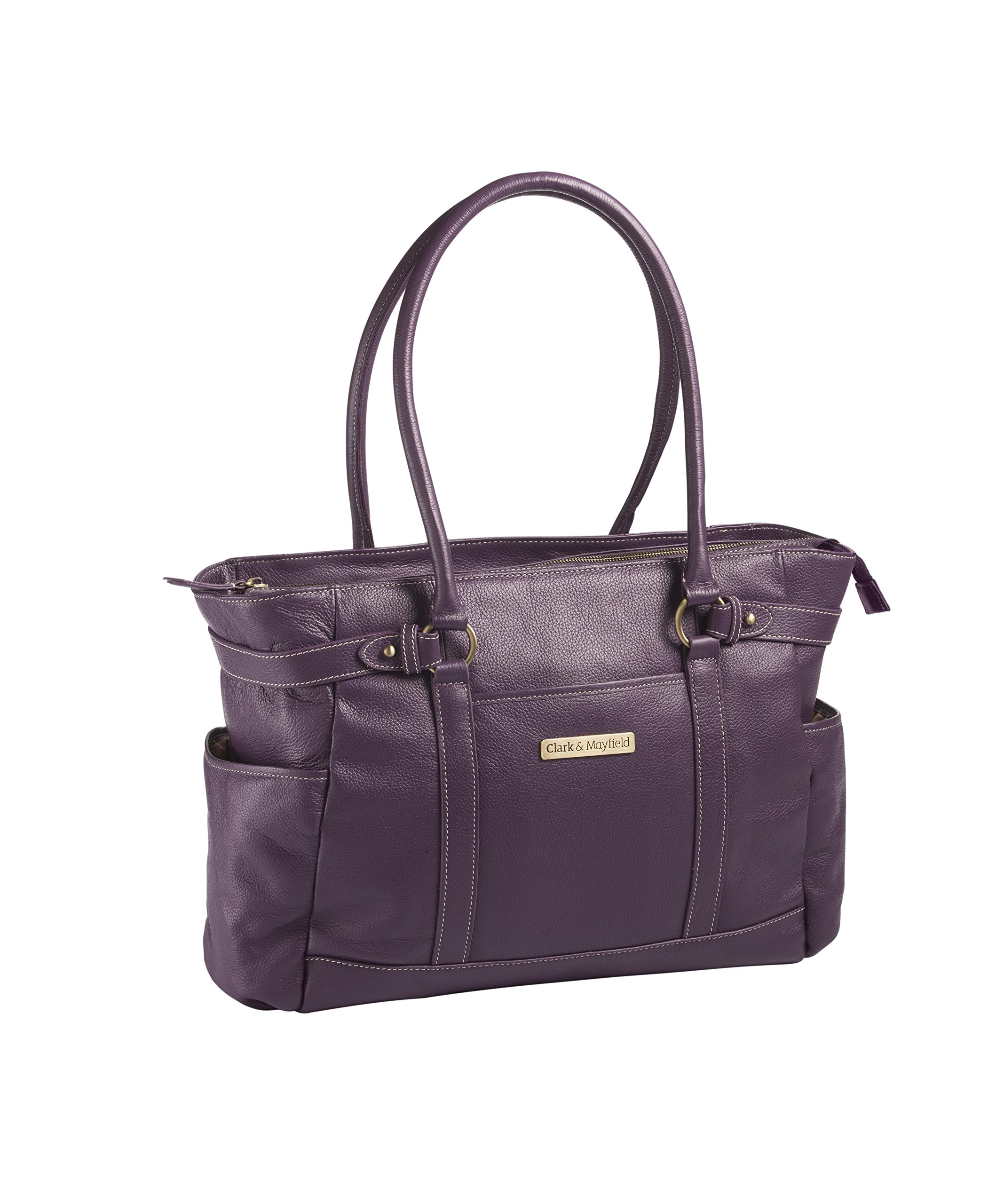 Clark & Mayfield Hawthorne Leather 17.3'' Laptop Handbag (Purple)