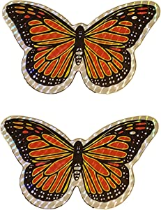 "Butterfly Decorative Multicolor Holographic Screen Door Refrigerator Magnet 5.5"" (2pcs/lot) - Orange"