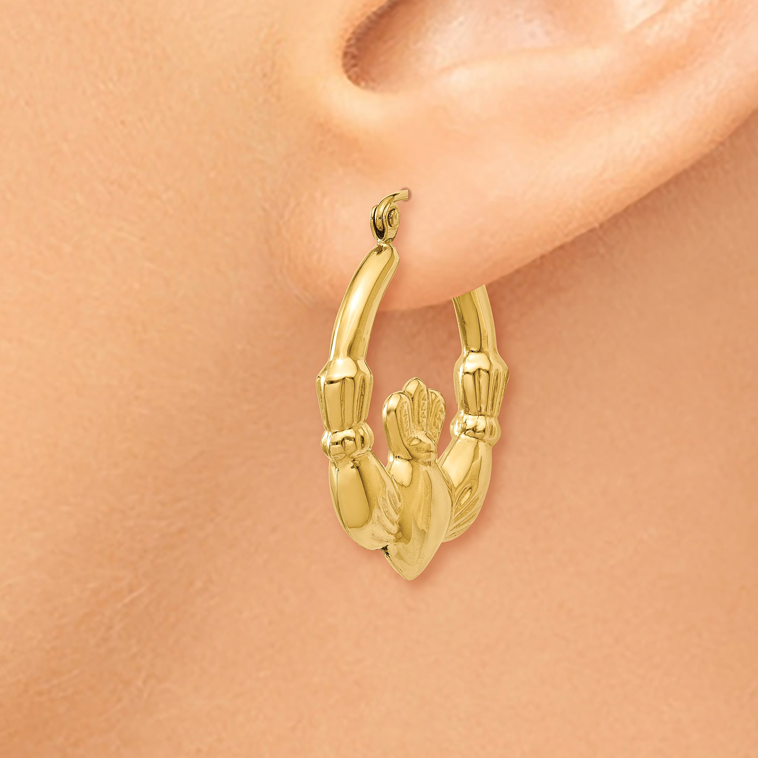 Roy Rose Jewelry 14K Yellow Gold Polished Claddagh Hoop Earrings 27mm length by Roy Rose Jewelry (Image #3)