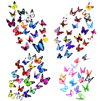 Good Wall Decal Butterfly, 80 PCS Wall Sticker Decals, 3D Butterfly Stickers For  Room Home Part 9