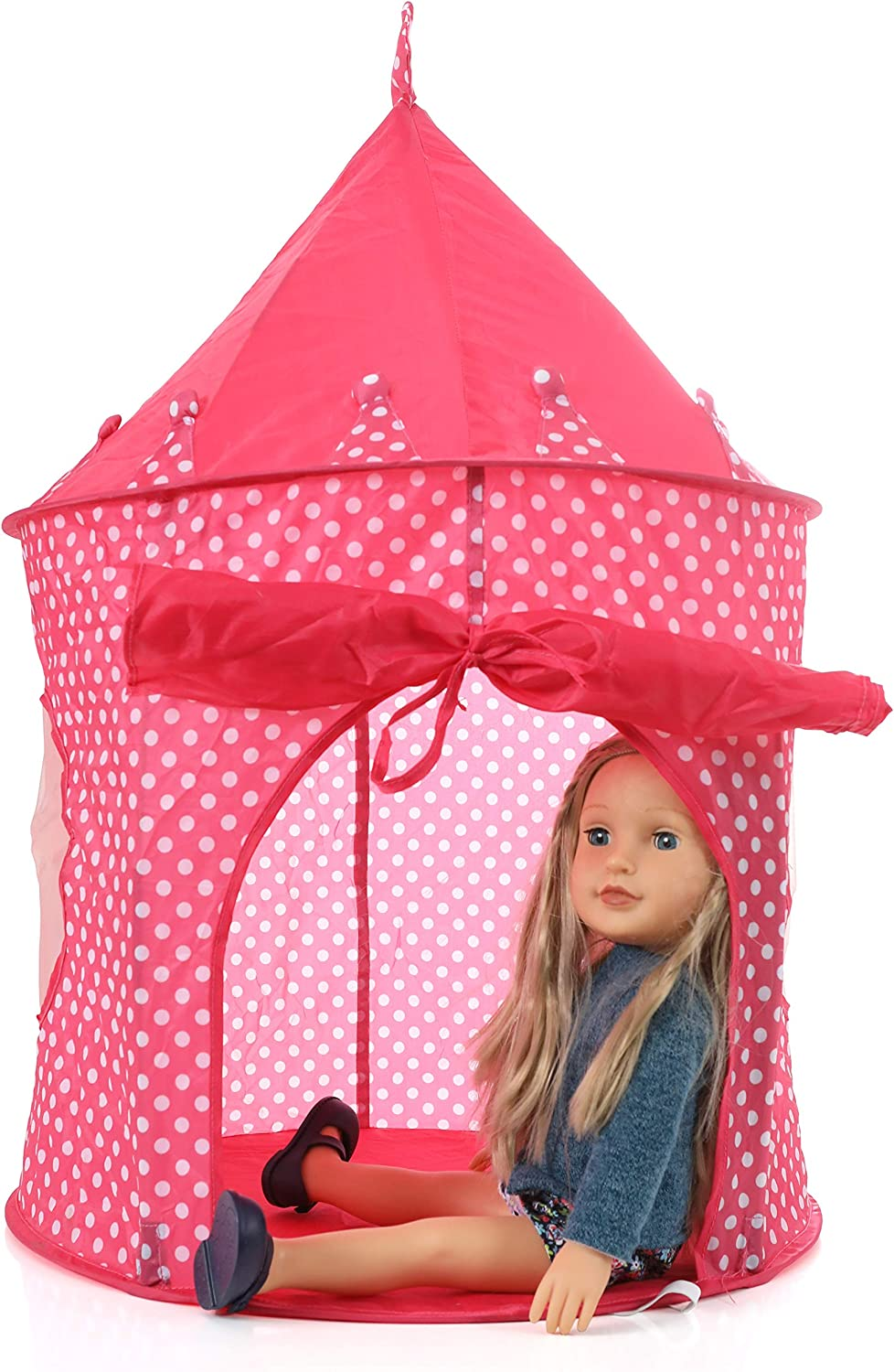 Beverly Hills 18 Inch Doll Accessories Princess Doll Popup Camping Tent Playset, for Indoor and Outdoor Use, Fits 2 18 Inch Dolls