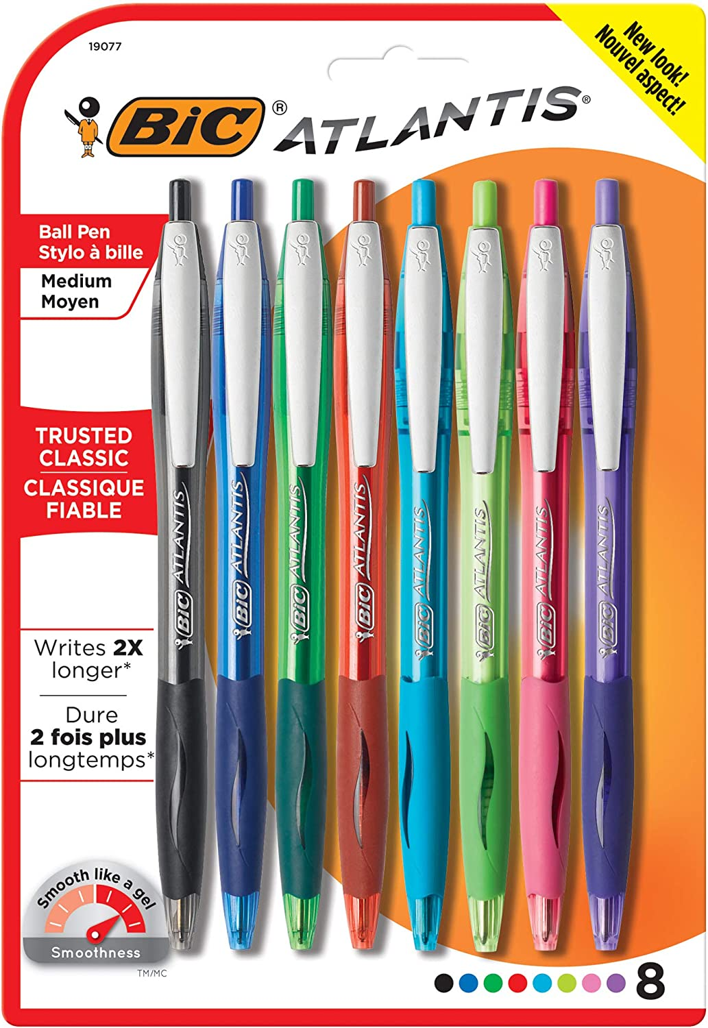 BIC Atlantis Original Retractable Ballpoint Pens 8//Pkg-Assorted
