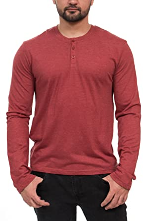 Henley 3-Button Mens Long Sleeve Fashion T-Shirt at Amazon Men's ...