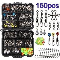 160pcs/box Kit de accesorios de pesca, incluidos Anzuelos