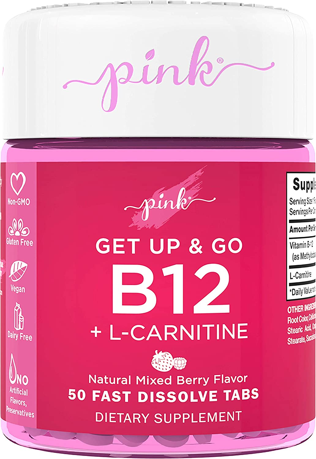Pink Get Up & Go B12 Vitamin for Women | 50 Dissolvable Tablets | B12 5000mcg | Delicious Berry Flavor | Vegan, Non-GMO & Gluten Free Supplement | Plus L Carnitine