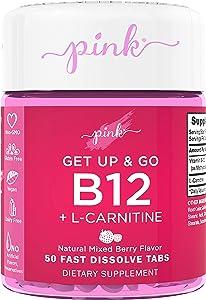 Pink Get Up & Go B12 Vitamin for Women   50 Dissolvable Tablets   B12 5000mcg   Delicious Berry Flavor   Vegan, Non-GMO & Gluten Free Supplement   Plus L Carnitine