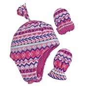 7d392e3602c N Ice Caps Little Girls and Baby Soft Sherpa Lined Micro Fleece Pilot Hat  and Mitten Set (Fair Isle Print Infant