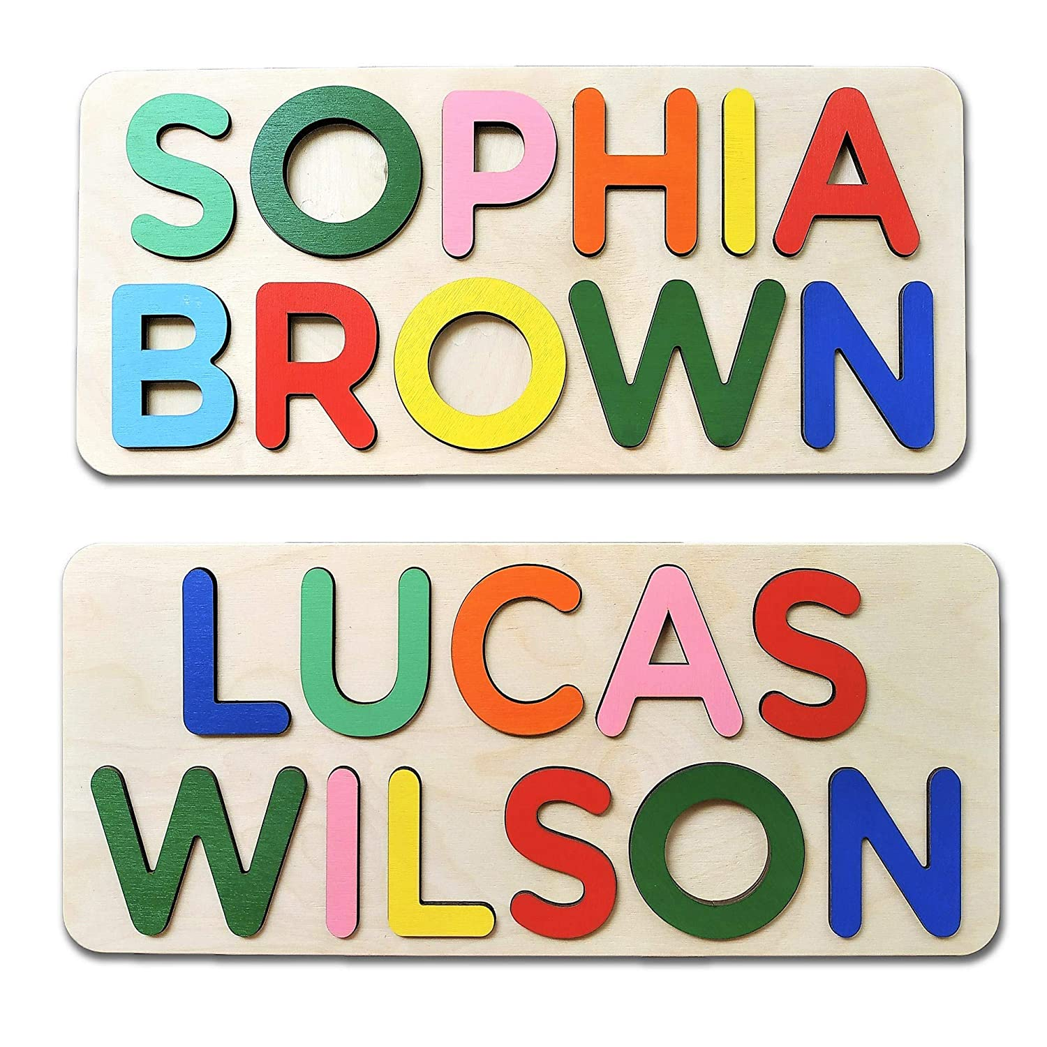 WOOD LAND Personalized Two Name Puzzle, FREE Engrave Message, Gift for Baby Boy and Baby Girl, Puzzles Child's Name, Handmade