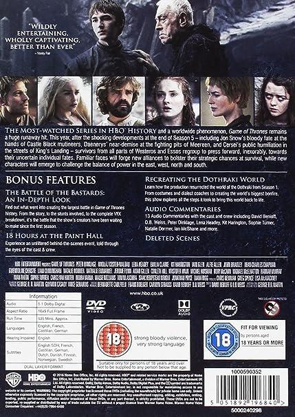 Game of Thrones - Season 6 [DVD] [2016]: Amazon co uk: Peter