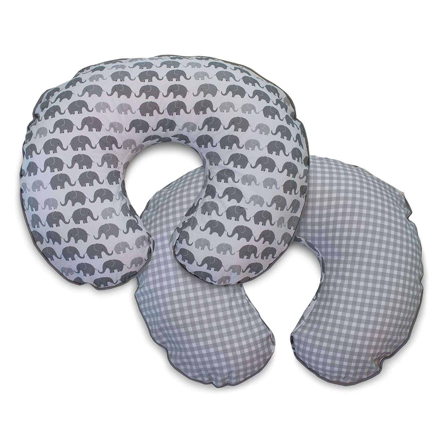 Boppy Microfiber Nursing Pillow Slipcover, Gray Elephants Plaid The Boppy Company 3200579K 6PK
