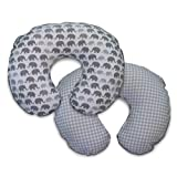 Boppy Premium Pillow Cover, Gray Elephants Plaid, Ultra-soft Microfiber Fabric in a fashionable two-sided design, Fits All Boppy Nursing Pillows and Positioners