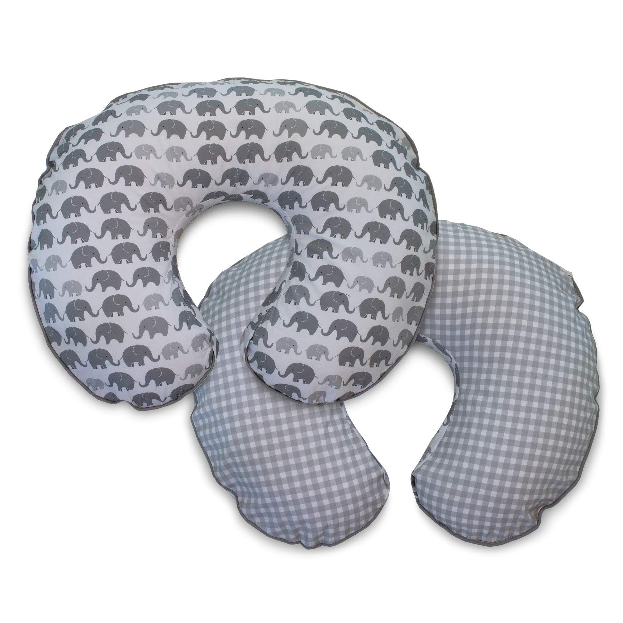 Boppy Premium Pillow Cover, Gray Elephants Plaid, Ultra-soft Microfiber Fabric in a fashionable two-sided design, Fits All Boppy Nursing Pillows and Positioners by Boppy
