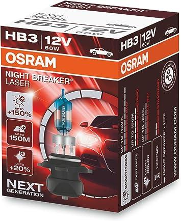 OSRAM NIGHT BREAKER LASER HB3, Gen 2, +150% más luz, bombillas HB3 ...