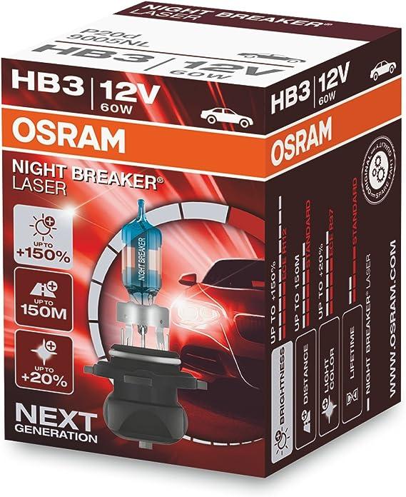 OSRAM NIGHT BREAKER LASER HB3, Gen 2, +150% más luz, bombillas HB3 para faros delanteros, 9005NL, 12V, estuche plegable (1 lámpara)