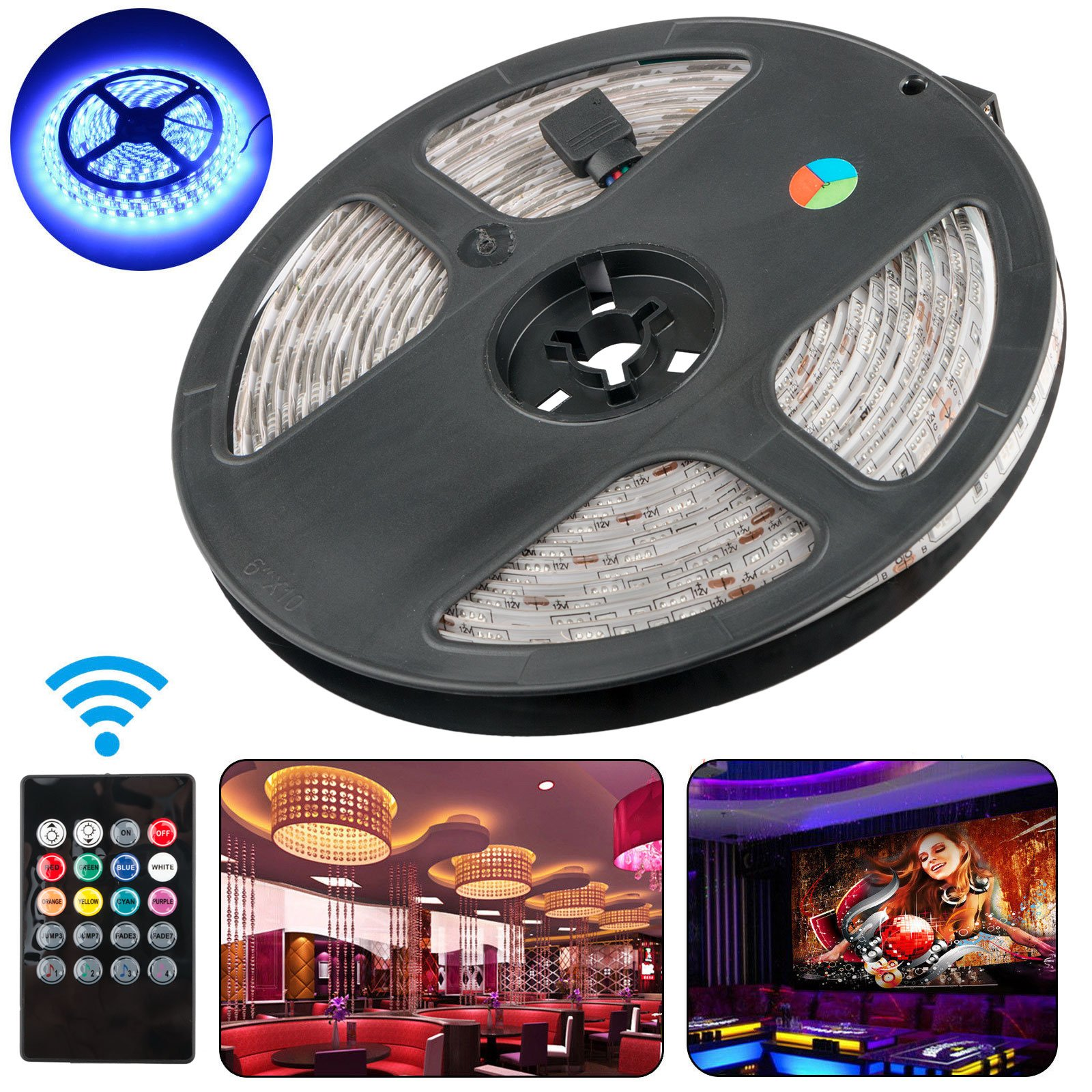 LED Strip Lights, EEEKit 16.4Ft/5M LED Light Strip 300 LED Lights SMD 5050 Waterproof Flexible RGB Strip Lights IR Controller+12V 3A Power
