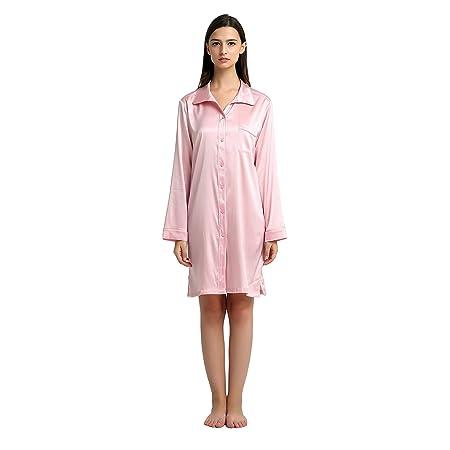 feaecc8f84 Jasmine Silk Pure Silk Nightshirt Night Wear Pajamas Pink (Medium)  Amazon. co.uk  Kitchen   Home