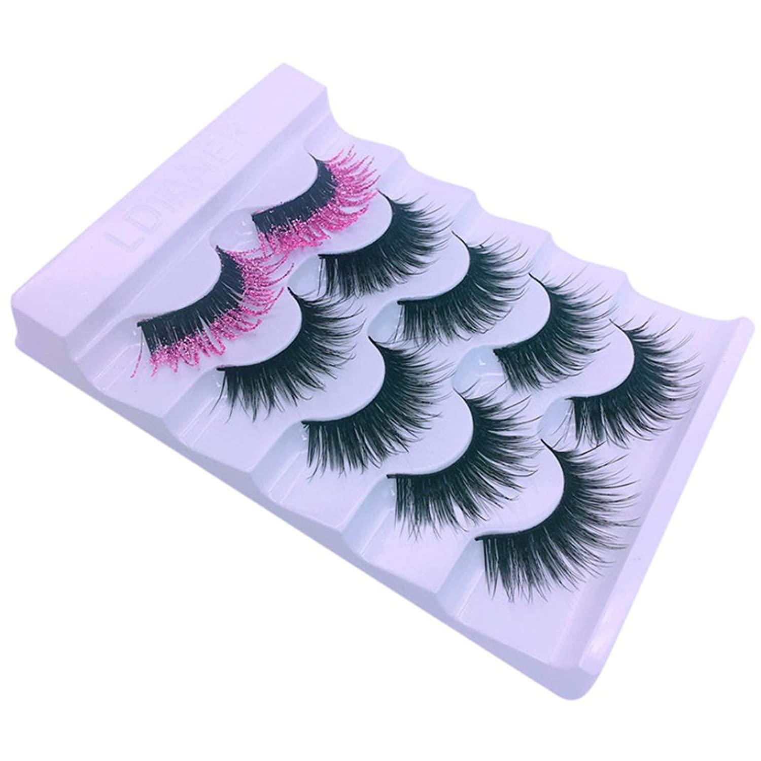 happy event 5 Paare Luxus 3D Rosa Criss Kreuzen Falsche//K/ünstliche Wimpern Nat/ürliche f/ür Make-up 3D Pink Luxury Crisscross False Eyelashes HOT Eye Lashes