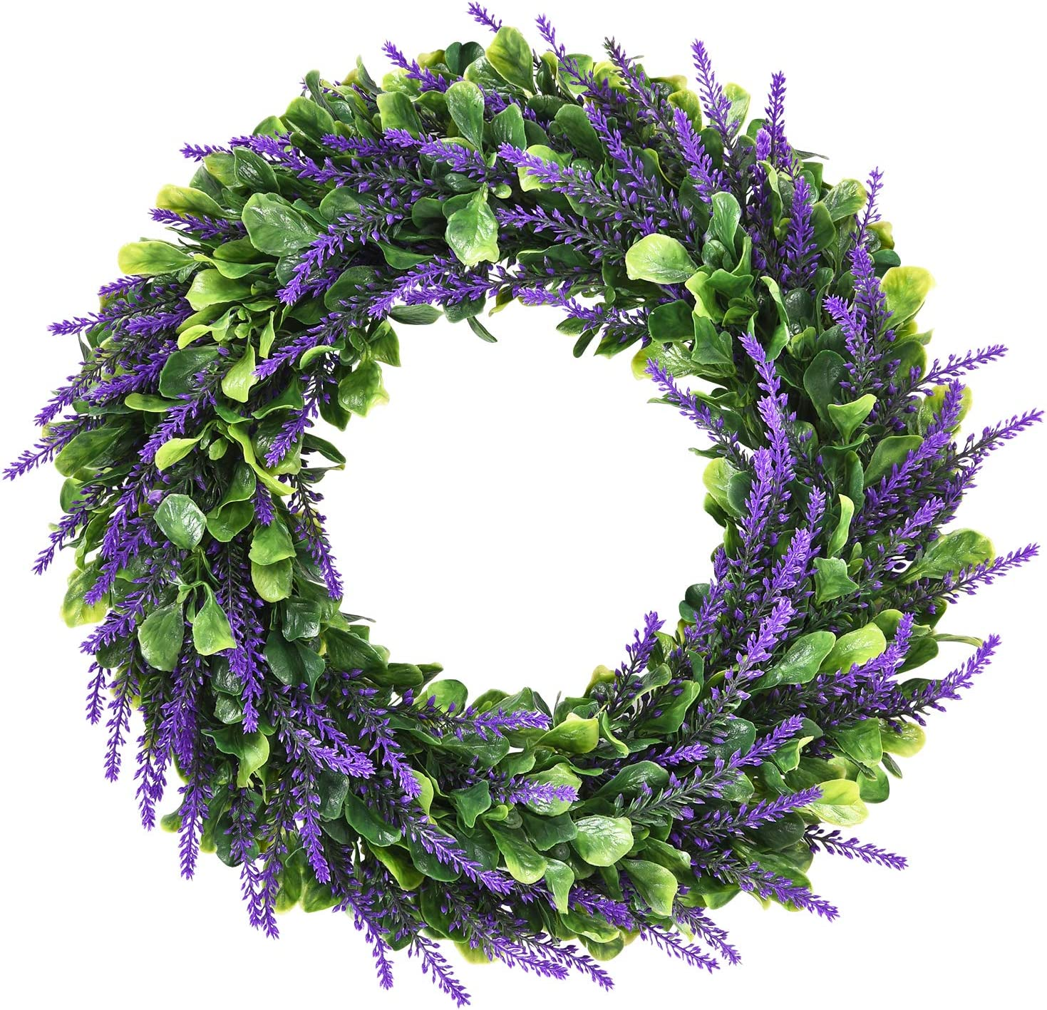 Dolicer Artificial Lavender Wreath, Green Leaves Boxwood Wreath with Lavender Wreath Flowers Arrangements Lavender Spring Wreath for Garden Office Wedding Party Wall Table Home Decor,16.5''
