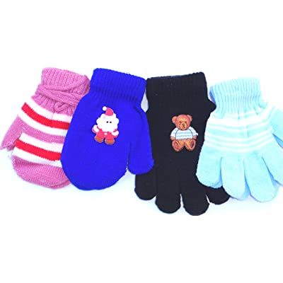 Four Pairs of One Size Very Warm Fleece Mittens for Infants Ages 0-6 Months