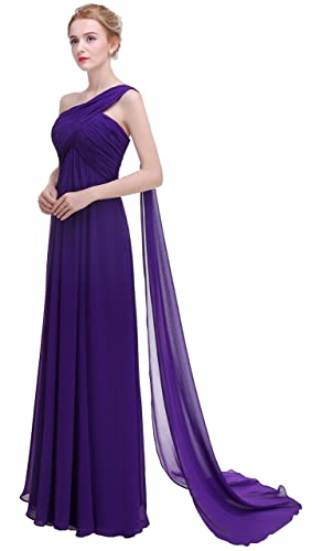 esvor One Shoulder Padded Ruffles Long Prom Evening Gown Bridesmaids Dress