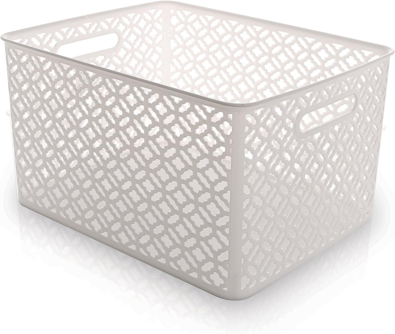 BINO Woven Plastic Storage Basket, X-Large (White)