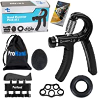 ProHand Premium Quality Hand Grip Strengthener Exercise Set (5-in-1 pack) - Adjustable Resistance Hand Gripper 5-60 KG…