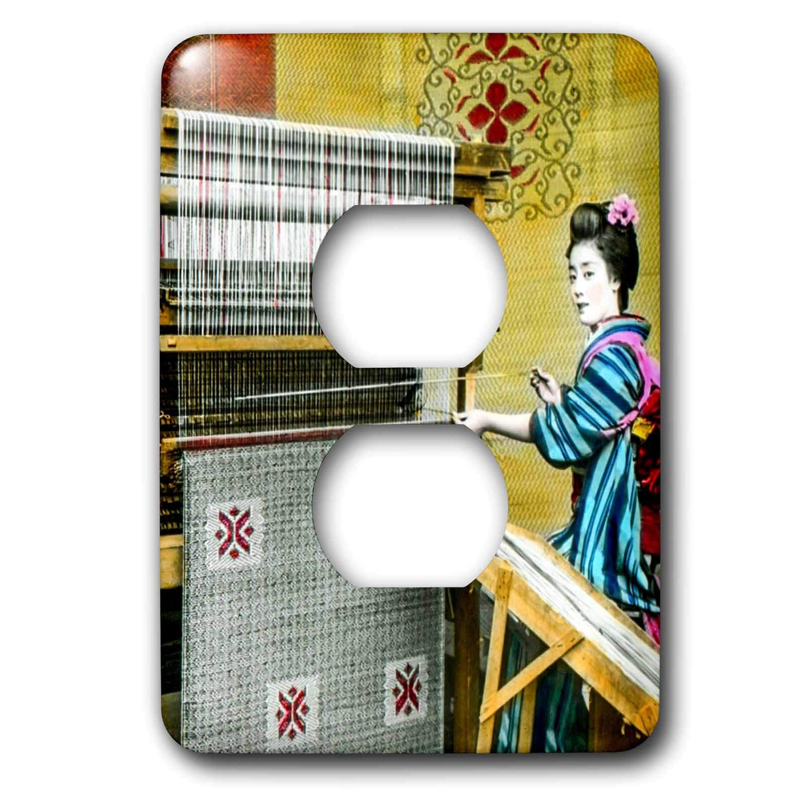 Scenes from the Past Magic Lantern Slides - Vintage Japanese Woman Weaving a Beautiful Rug Hand Colored - Light Switch Covers - 2 plug outlet cover (lsp_246812_6) by 3dRose