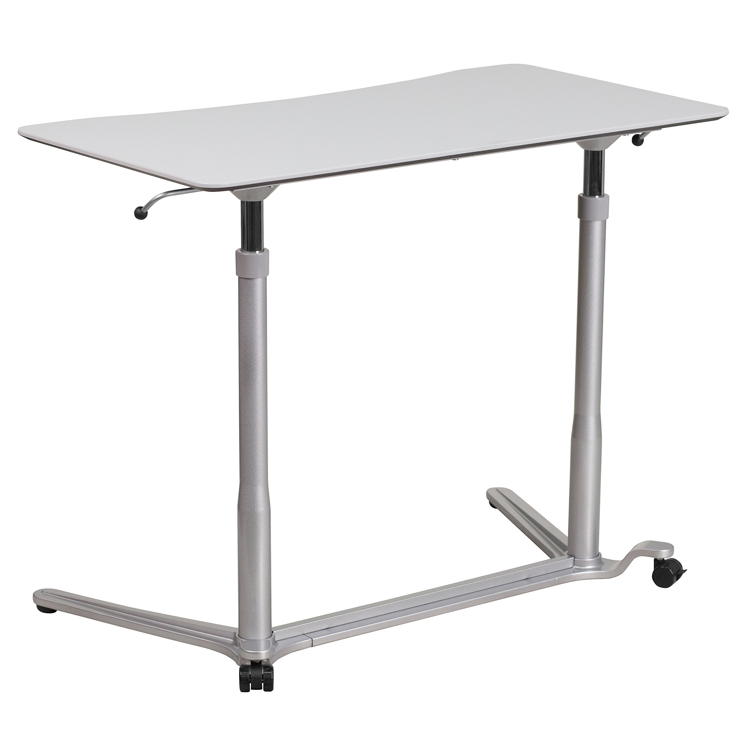 Flash Furniture Sit-Down, Stand-Up Light Gray Computer Ergonomic Desk with 37.375''W Top (Adjustable Range 29'' - 40.75'') by Flash Furniture