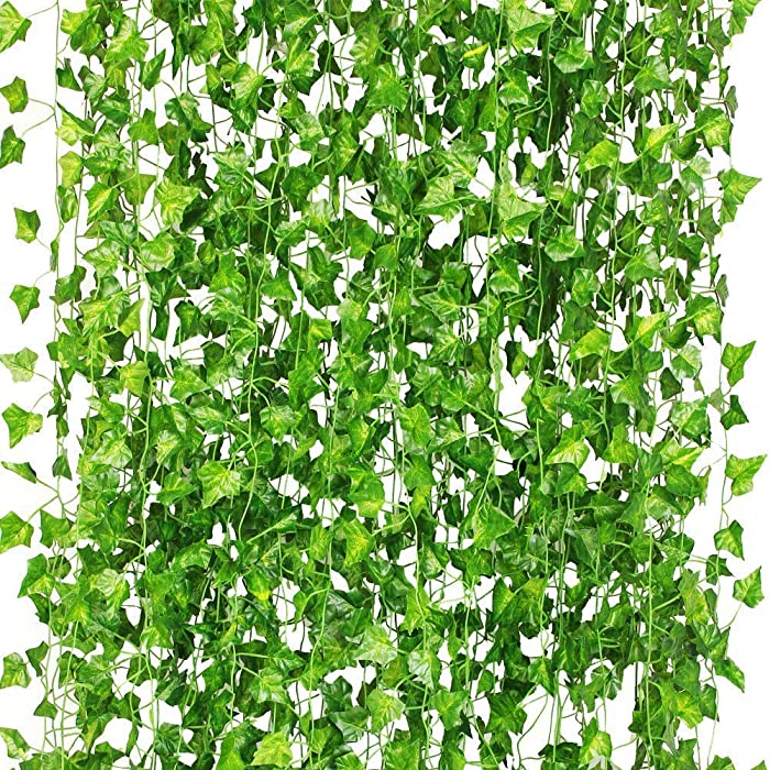 CQURE 12 Pack 84 Ft Ivy Garland,Greenery Leaf Vine Garland Artificial Foliage for Wedding Party Garden Wall Decoration
