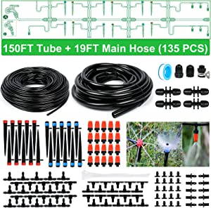 Bonviee Drip Irrigation Kit, 169FT Greenhouse Watering System, 1/4 inch Automatic Patio Misting System for Garden with Distribution Tubing Hose & Adjustable Nozzle Emitters Sprinkler Barbed Fittings