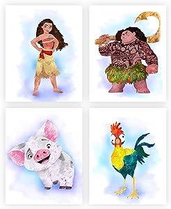 Princess Watercolor Wall Art. Moana. Vaiana. Pua. Heihei. Nursery/Kids Room Wall Art. 4 set (8x10). Unframed.