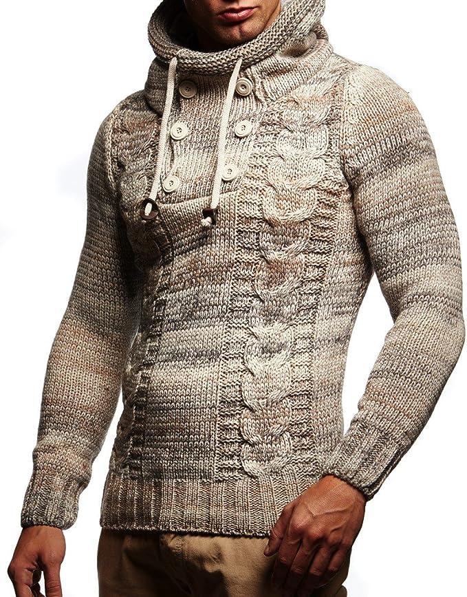 Leif Nelson pour des Hommes Pullover Hoodie Pull en Tricot Longsleeve Sweatshirt matelass/é Biker-Style col ch/âle LN5235