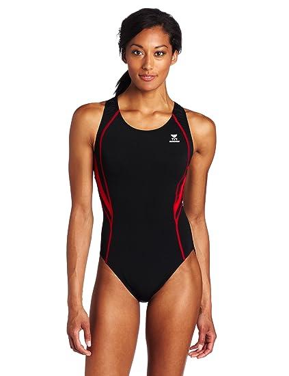 3cfe9a076c318 TYR Sport Women s Alliance Durafast Splice Maxback Swim Suit (Black Red