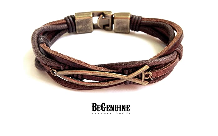 f6a658293dc17 Mens Christian Fish Leather Bracelet Braided Genuine Leather and Cotton  Rope Cord with Handsome Strong Bronze Clasp