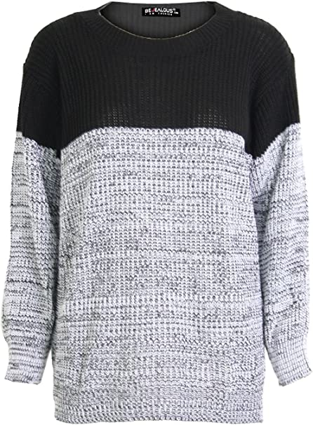 Fashion Star Womens Chunky Knitted Contrast Block Long Sleeves Round Neck Baggy Oversized Pullover Warm Jumper Sweater Top