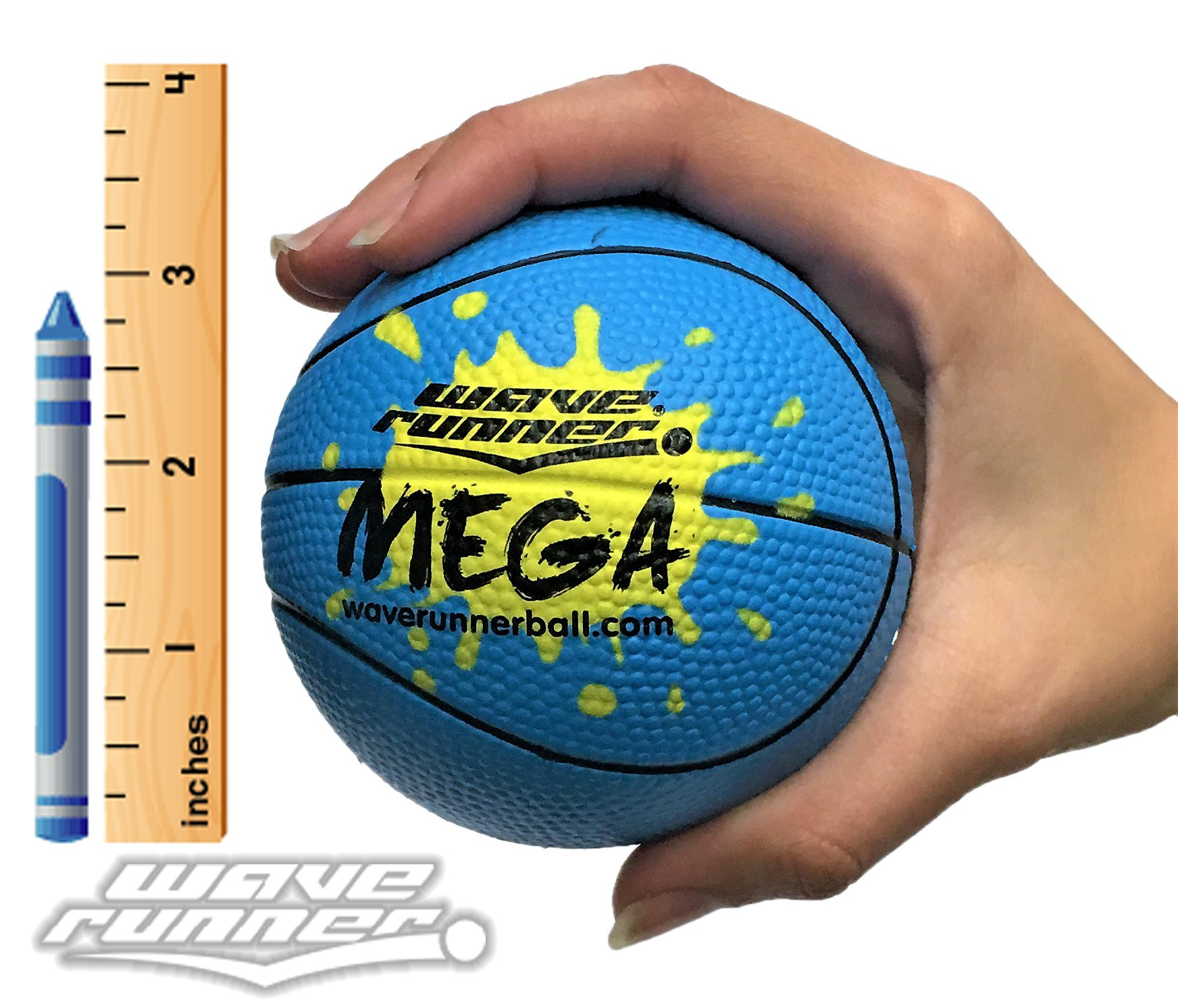 Wave Runner Mega Sports Miniature Basketball 3.5'' Waterproof Bouncing Ball for all Ages Colors May Vary