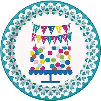 Unique Party Platos de Papel Fiesta de Cumpleaños de Tarta ...