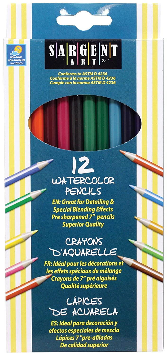 Sargent Art 22-7204 12-Count Assorted Color Watercolor Pencils Set