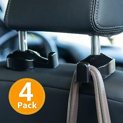 Toplus 4 PACK Car Headrest Hooks - Vehicle Universal Car Organizer Car Back Seat Headrest Hanger Holder Hook for Bag Purse Cloth Grocery, Black- Coloured: Automotive [5Bkhe0106219]