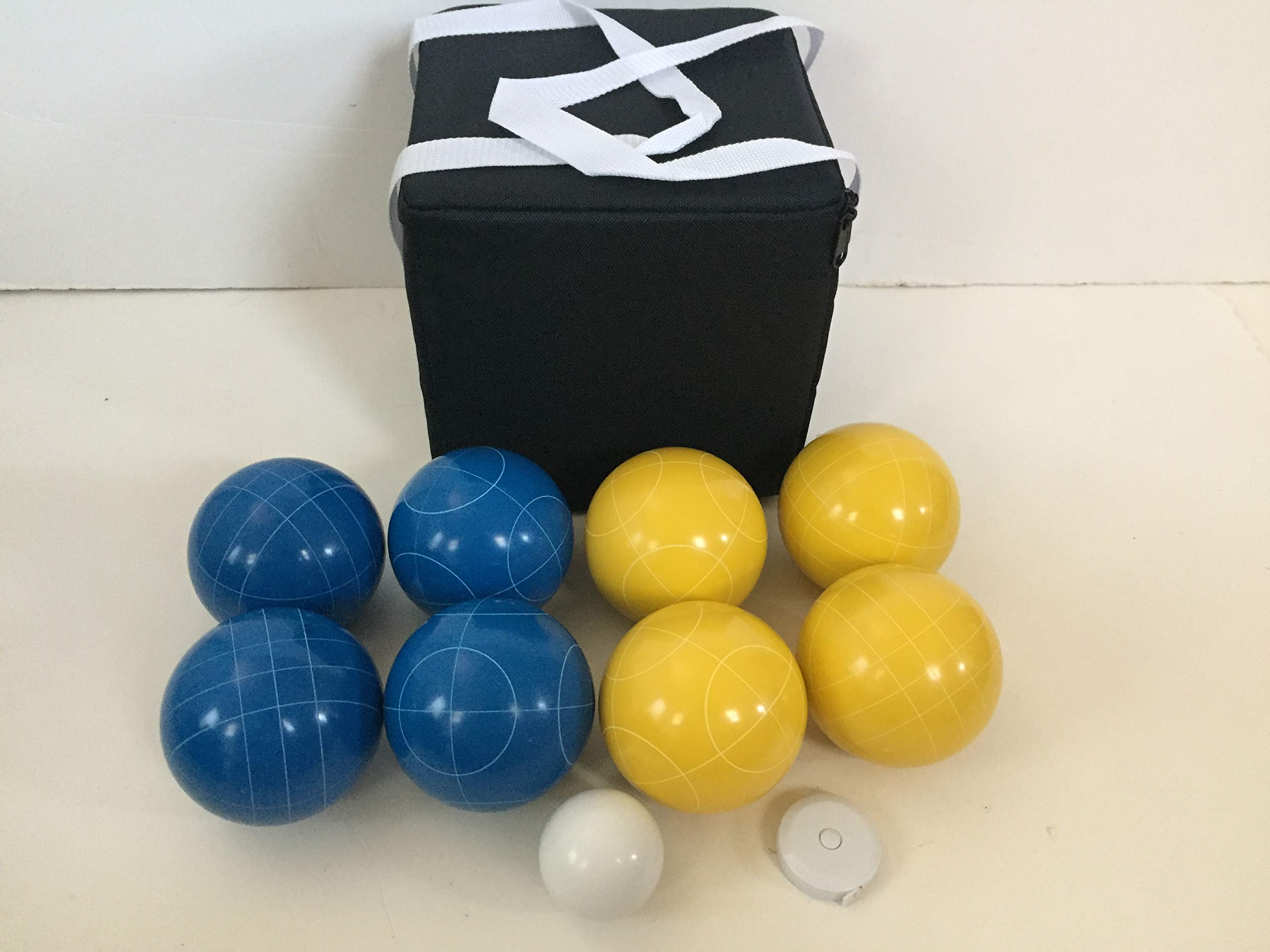 New Listing - (19 of 28) Unique Bocce Sets - 107mm with Blue and Yellow Balls, Black Bag