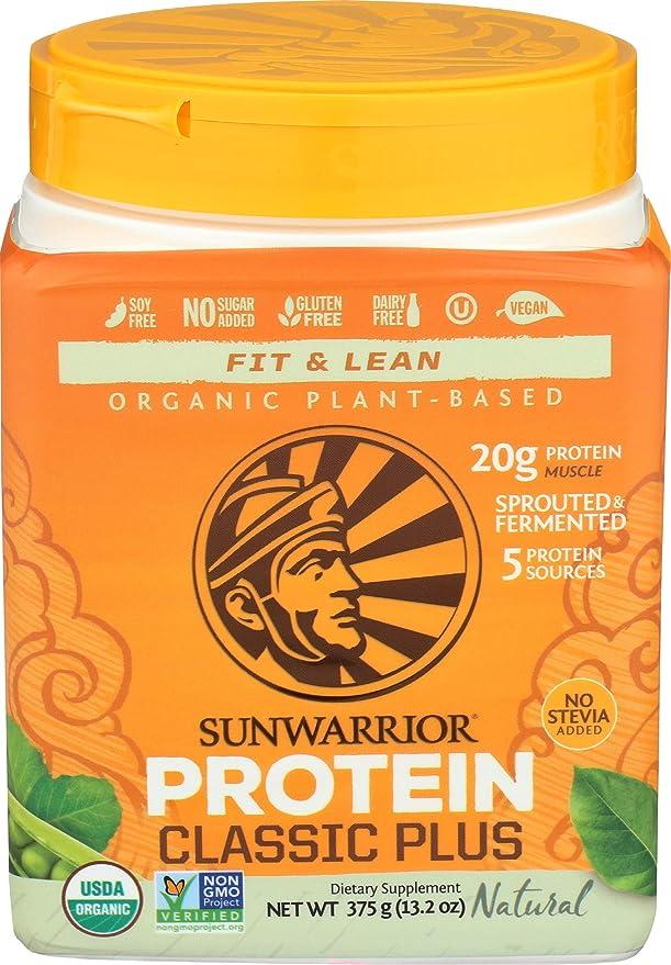 SunWarrior Classic Plus - Organic Plant-Based Protein Natural 375 grams