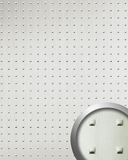 Panel Decorativo autoadhesivo cuadrados convexos efecto metal WallFace 11273 SQUARE acero inoxidable cepillado 2,60